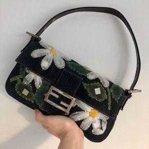 Fendi denim floral baguette bag